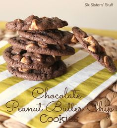 Chocolate Peanut Butter Chip Cookies- so chewy and soft! SixSistersStuff.com #dessert #cookies