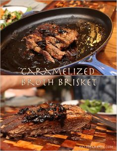 Caramelized Broth Brisket ~ 3 lbs. beef brisket  1-2 onions, sliced 2 C beef broth salt pepper Italian seasoning (or a combination of dried basil, parsley and oregano) ~ ♥ Add onions to bottom of shallow roasting dish  ♥ Salt, pepper and season both sides of the brisket and place on top of the onions Roast 90 minutes 350 degrees Add the broth, cover and reduce heat to 325; roast 4 hours (baste the meat with the broth every 30-60 minutes, if you're able, until it's no longer a liquid)