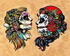 Day of the Dead Tattoo Flash Art Beauties 11 x by illustratedink, $20.00