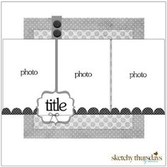 scrapbook layout - 3 vertical photos, square background