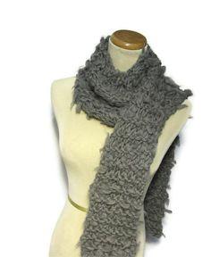 Grey Merino Wool Hand Knit Scarf by ArlenesBoutique on Etsy, $50.00