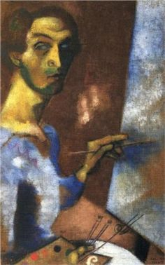 Self Portrait with Easel - Marc Chagall