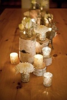 gold white and natural centerpieces event wedding