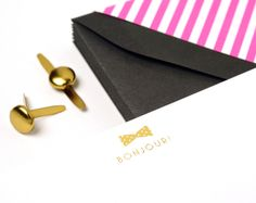 BOWTIE BONJOUR - BOXED CARDS with black, pink & white striped envelope