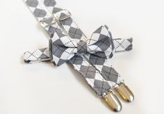 Matching argyle pattern suspender and bow tie set - perfect for groomsmen at an argyle pattern themed wedding.
