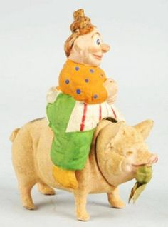 Mama Katzenjammer Riding Pig Candy Container.