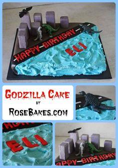 Godzilla Cake | http://rosebakes.com/godzilla-cake/