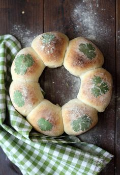 Milk Bread decorated with cilantro.  parsley could work, too.  Cute to bring to mom's for St. Patty's day meal / Image Only.