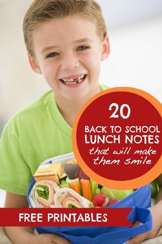 Free Printable Back To School Lunch Notes