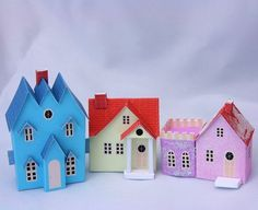 glitter houses, printable templates, mini houses, christmas villages, cardboard houses
