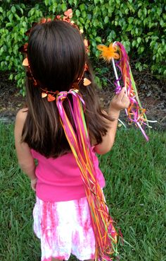 8 pieces  lime, hot pink, orange Fairy halos and wands, Girls fairy party, fairy birthday party. $20.99, via Etsy.