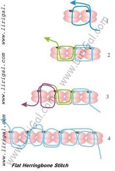 Basic Flat Herringbone (Ndebele) stitch