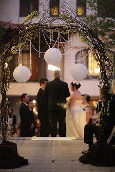 Wedding arch with lanterns