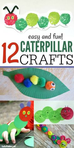 "Toddlers and kids love these super easy Caterpillar Crafts! These kids crafts go great with ""The Very Hungry Caterpillar"" children's book. #caterpillarcrafts #craftsfortoddlers #theveryhungrycaterpillarcrafts"