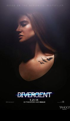 """Yahoo! Movies has exclusively released the FIRST official Divergent posters featuring Tris Prior and Tobias """"Four"""" Eaton! Both posters are dark, blurred, a litter eerie, and a whole lot of awesome. Tris' raven tattoos are on full display."""