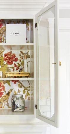 Wallpaper in cabinet