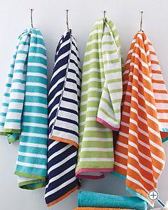 navy & orange towels for bath