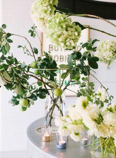 spring tabletop // hydrangeas + citrus tree