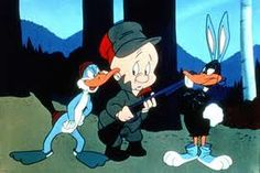 Bugs Bunny is confusing Elmer Fudd with Daffy Duck