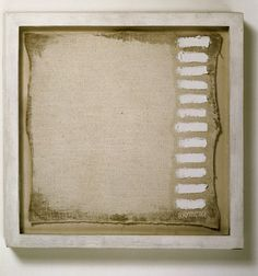 """Robert Ryman, """"A painting of twelve strokes, measuring 11 1/4"""" x 11 1/4"""" signed at the bottom right corner"""" (1961)   painting   oil and gesso on linen canvas    Source: http://www.sfmoma.org/explore/collection/artwork/22931#ixzz1jCCtIFLw   San Francisco Museum of Modern Art"""