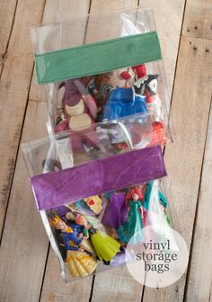 These are genius!! DIY Vinyl Storage Bags for toys (you have to see what see did with these for cosmetics as well!)