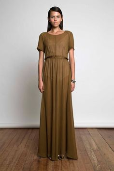 Josephine Dress in Olive from a sneak peek of Juliette Hogan's SS13 Kaleidoscope City collection. Sheer olive silk georgette maxi dress with a peek of a pale leotard underneath.