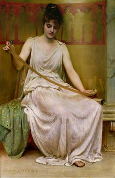 'Neaera Reading a Letter from Catullus' by Henry John Hudson (c.1894)