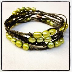 Grass green long pearl wrap bracelet  www.artesano-jewels.com