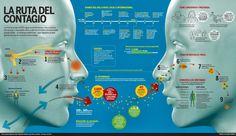 Cómo se contagia la gripe AN1H1 #infografia