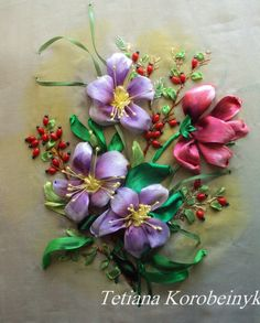 "Flowers, hand embroidered, idea of the author in technique ""Silk ribbon embroidery"""