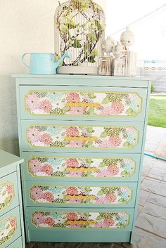 """wall paper mod podge on a dresser"" #decoupage #modpodge #craft #crafts"
