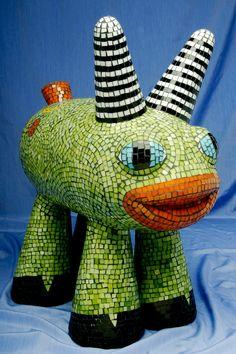"Glass mosaic sculpture, ""My Chimera"", cute fantasy animal. $450.00, via Etsy."