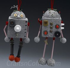 I think Gabe would love these Recycled Robot Christmas Ornaments. What a great way to use up found treasures. CraftsnCoffee.com....