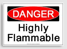 Free - Danger : highly flammable printable sign