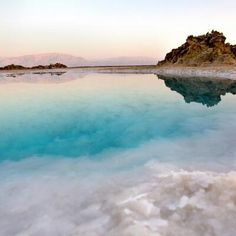 The Dead Sea, Israel. Its surface and shores are 423 metres below sea level, Earth's lowest elevation on land. At 377m deep, it is the deepest hypersaline lake in the world.