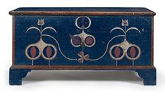 Price Realized $176,500 A POLYCHROME AND PAINT-DECORATED BLANKET CHEST JOHANNES SPITLER (1774-1837), Massanutten, Virginia, 1780-1800 the lid opens to a well fitted with a till, the face of the case initialed NR, the interior lid bearing the initials I.S.S. 24¼ in. high, 47½ in. wide, 21 in. deep Provenance Mrs. Sterling Wooten, Roanoke, Virginia Sotheby's, New York