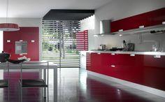shiny red kitchen