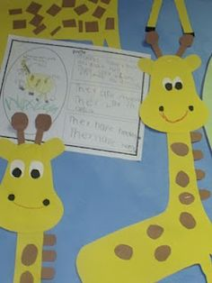 Ideas for a unit on giraffes - also links to her Zoo Unit available for purchase on tpt for $8.50.