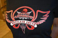 New women's red Hotflash Chapter Shirt! Go to www.sonsofarthritis.com