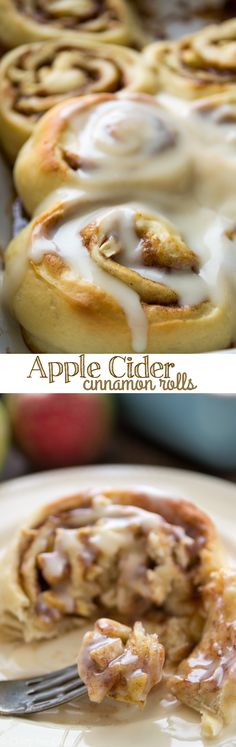 These Apple Cider Cinnamon Rolls have apple cider in the dough and the glaze!