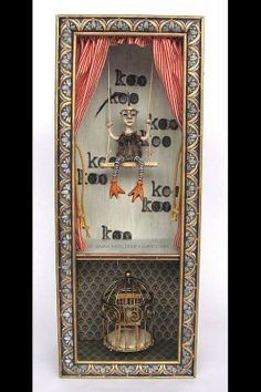 """birdlady"", art, assemblage, art box, mixed media, found objects, freak, freakshow, circus, side show"