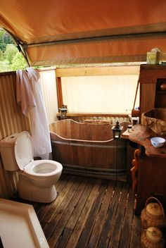 How is that for a bathroom. glamping