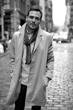 Trench Raincoat, Scarf, Fitted Jeans, Boots. Men's Fall/Winter Street Style.