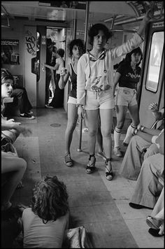 Vintage New York City - Little Italy, girls on the train to Rockaway Beach. Photograph by Susan Meiselas, 1978.