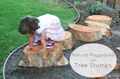Natural playground with tree stumps and other ideas for natural outdoor play.