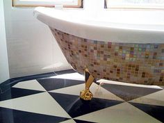 105 DIY Projects That Will Make You Proud: Traditional inlay dressers can cost thousands of dollars, but this version can be done under $40. : Add a little Versace to your bathroom with a mosaic tub project.