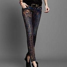 Metallic Painted Skinny Jeans $105