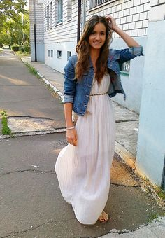 maxi dress and jeans jacket