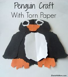 Torn Paper Penguin- Great Fine Motor Fun