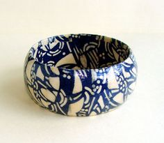 Japanese Indigo and White  Patterned Decoupage Bangle by Smoochys, $17.00